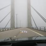 Lautlos im Nebel über die Öresundbrücke